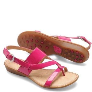 Born Minda Sandal in Pink Patent Leather 9